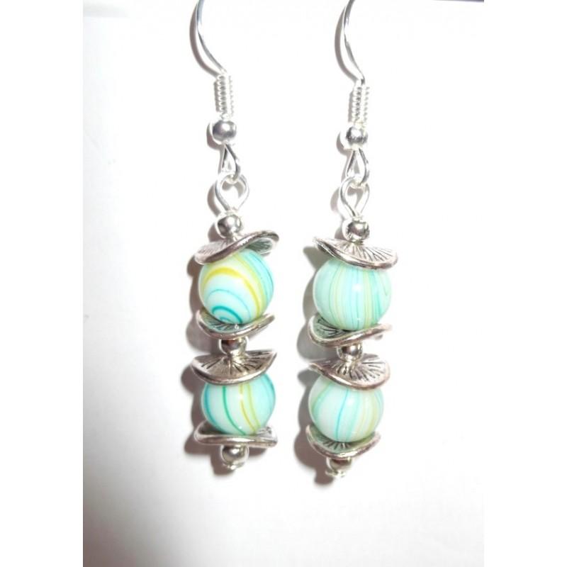 Boucles d'oreilles perles en verre