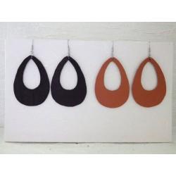 Goutte évidée en cuir crochet acier INOX