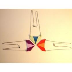 Cuir géométrique triangulaire, acier inox