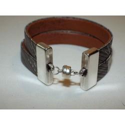 Bracelet cuir et tissu anthracite et argenté