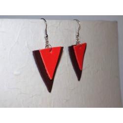 Boucles d'oreilles triangles cuir et acier inox
