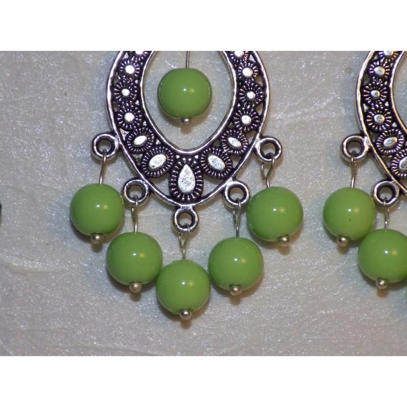 Connecteur ovale argenté & perles en verre