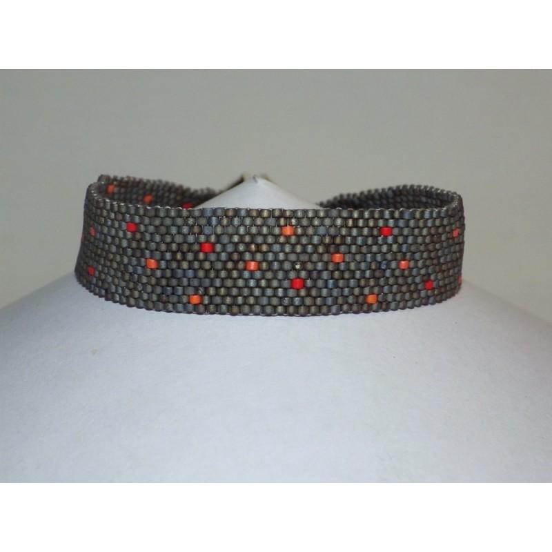 Bracelet tissage perles gris