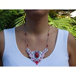 "Collier soutache ""coquelicot"""
