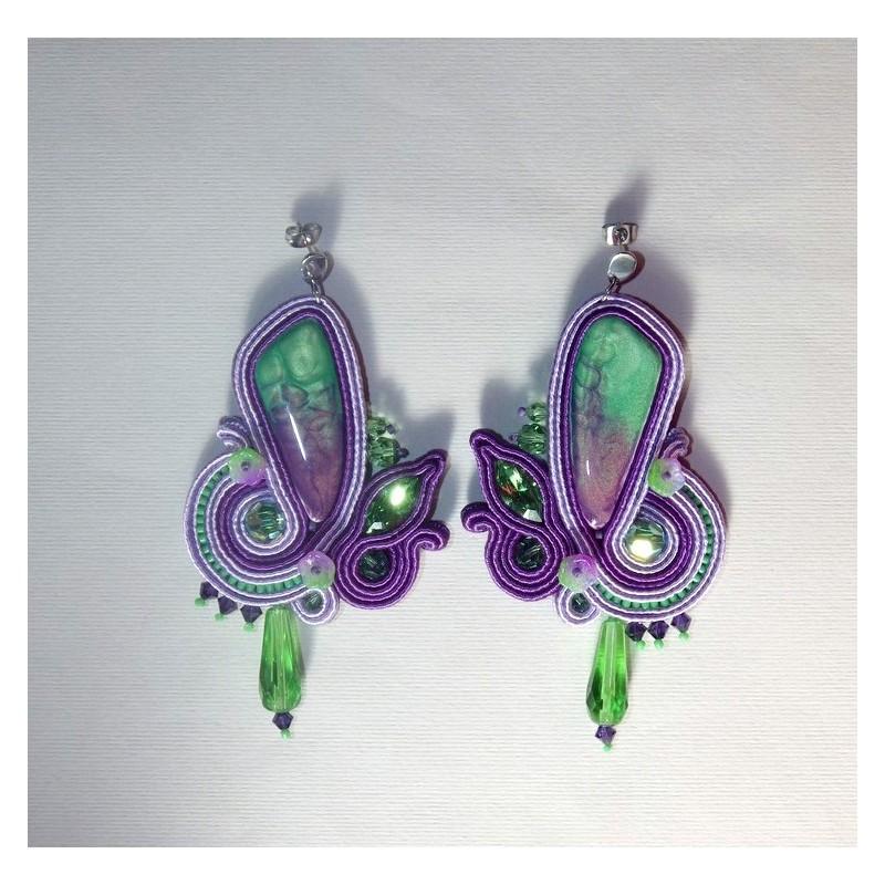 """Boucles d'oreilles soutache """"Orchidée"""""""