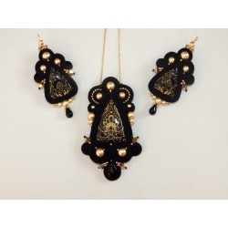 "Parure soutache ""BLACK & GOLD"""