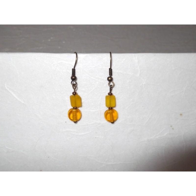 Boucles d'oreilles perles en verre, bronze