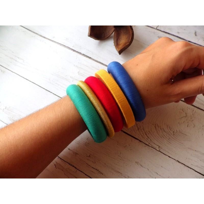 Bracelet jonc bois et fil de coton egyptien