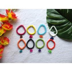 Bracelets facettes et pompons, enfants ou petits poignets