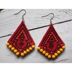 Boucles d'oreilles losange cuir peint et perles en bois