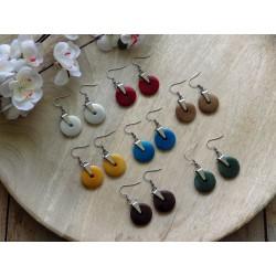 Boucles d'oreilles disque ivoire végétal