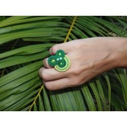 Bague soutache vert