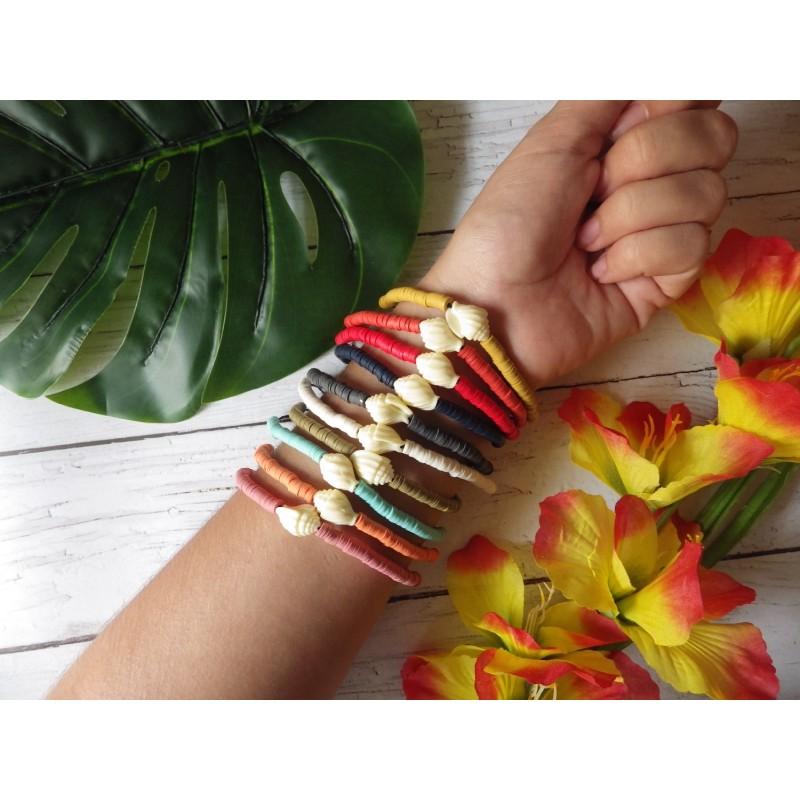 Bracelet coquillage résine et rondelles polymère
