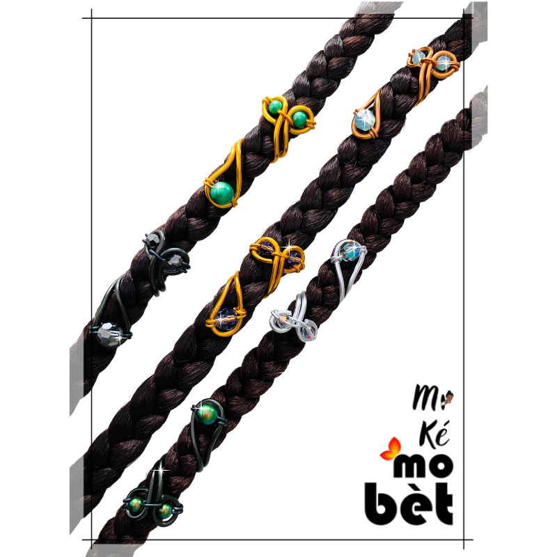 MKMB bague cheveux 3 perles fil alu perles Swarovski