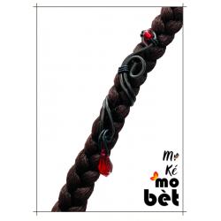 MKMB bague cheveux goutte fil alu perles Swarovski