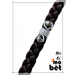 MKMB bague cheveux serpentin fil alu perles Swarovski
