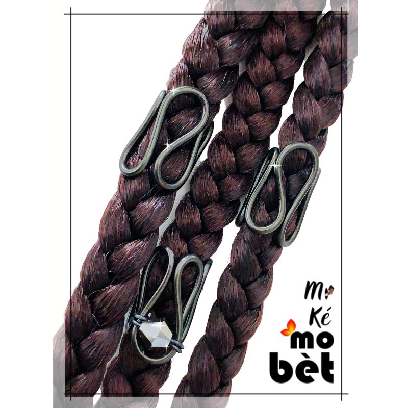 MKMB lot de 3 bagues cheveux fil alu perles Swarovski