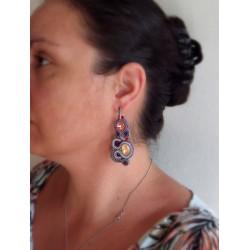 """""""AUBE"""" boucles d'oreilles soutache et cristal Swarovski"""