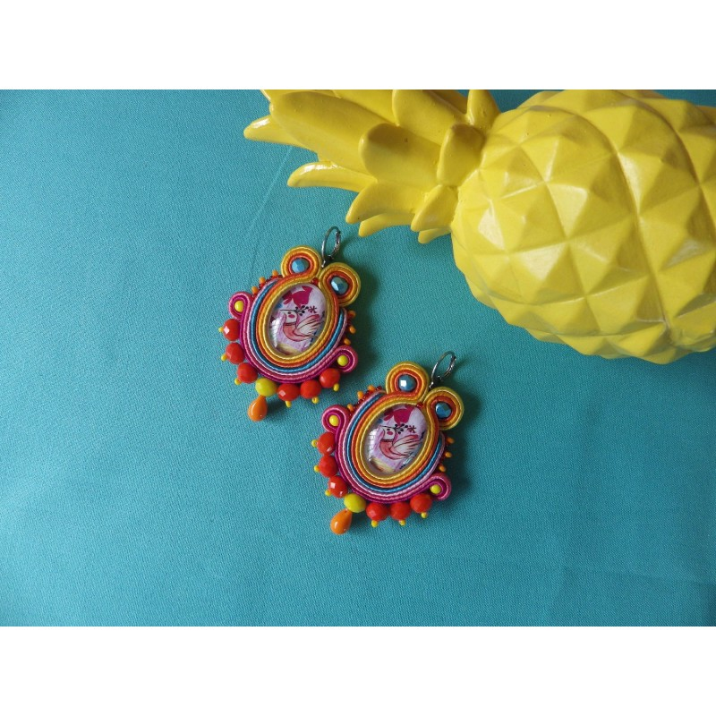 """LITTLE BIRD"" boucles d'oreilles en soutache"