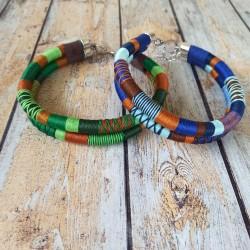 Colliers choker 2 rangs, grosse corde et fil coton coloré