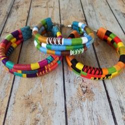 Colliers choker 3 rangs, grosse corde et fil coton coloré