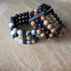 Bracelets 3 rangs bois santal et jujubier