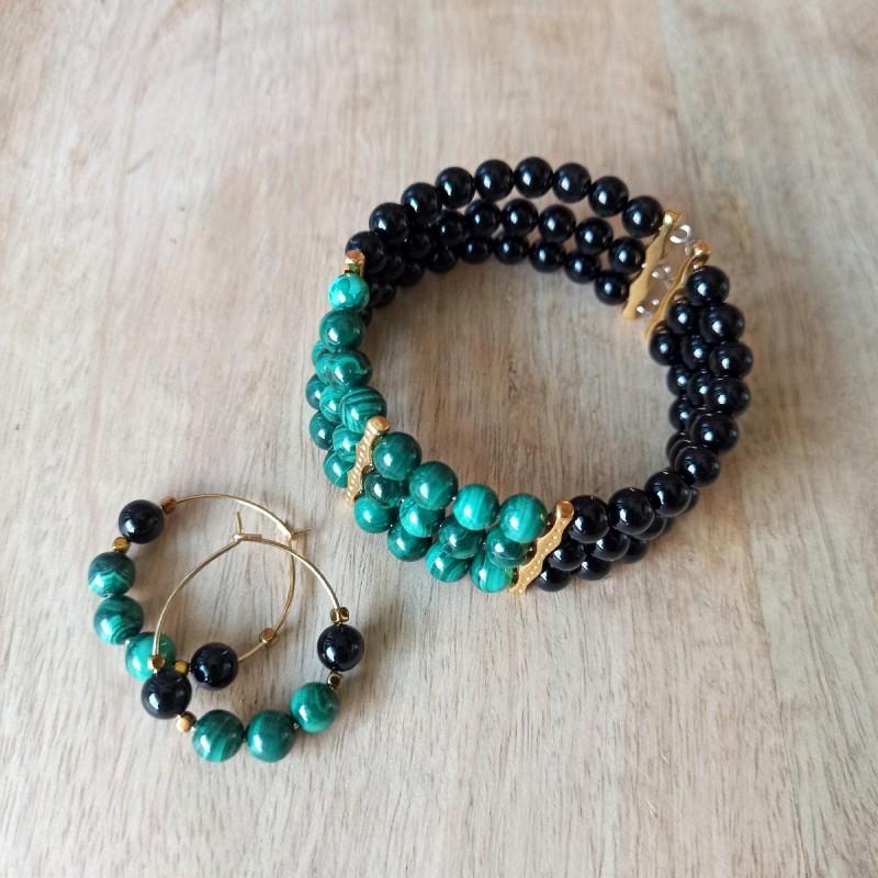 Parure bracelet-boucles d'oreilles pierre