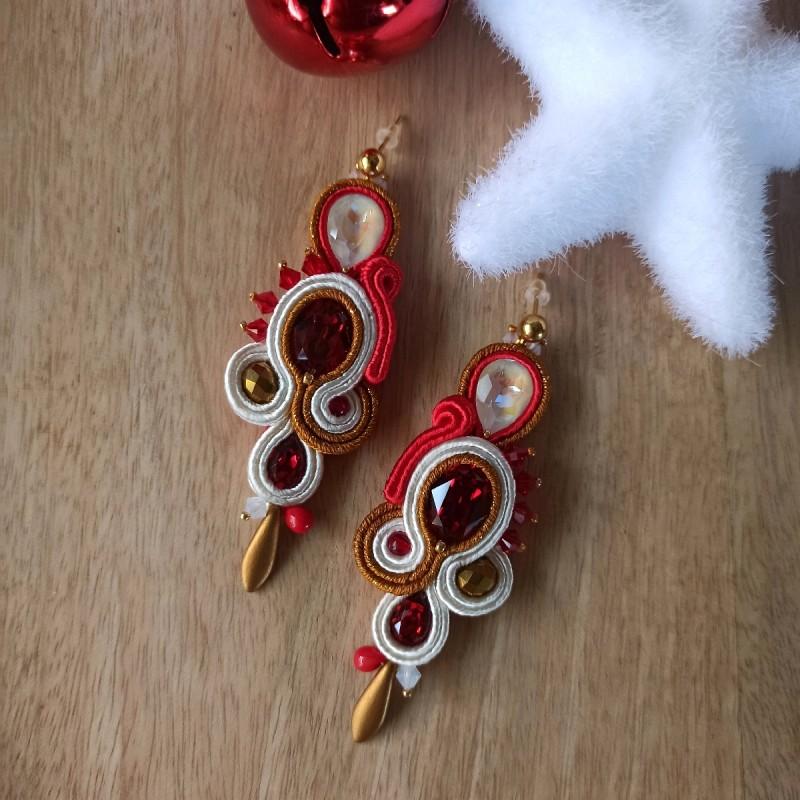 """""""SANTA"""" boucles d'oreilles soutache et cristaux Swarovski, clous inox - grand modèle"""