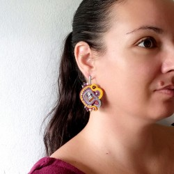 """SEVENTIES"" boucles d'oreilles soutache, clous inox"