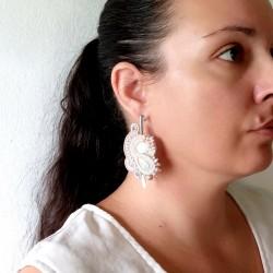 """""""PERLE"""" boucles d'oreilles soutache, céramique, inox"""