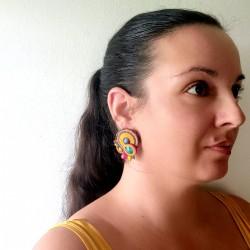 """""""OLIVIA"""" boucles d'oreilles soutache, clous inox"""