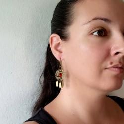 """Boucles d'oreilles pierre """"attrape-rêve"""" - bronze"""