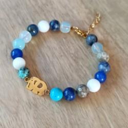 Bracelets pierres multicolores, connecteur inox doré