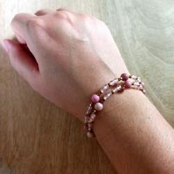 Bracelet quartz cherry, rhodonite et hématite