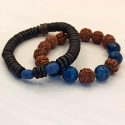 Bracelets bois de coco et pierre de lave