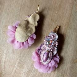 """""""BALLERINE"""" boucles d'oreilles soutache et cristal Swarovski, inox"""