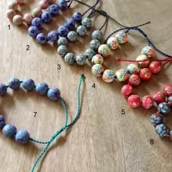 Bracelets 10 perles fleuries
