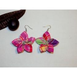 Boucles d'oreilles fleur madras