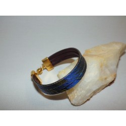 Bracelet cuir et tissu